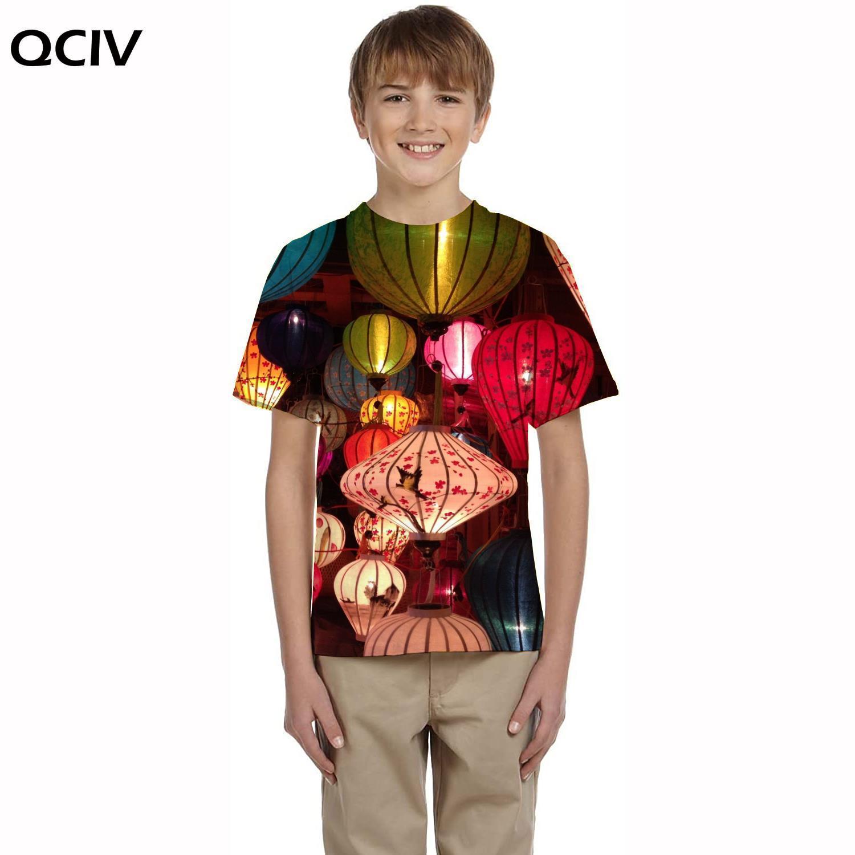 QCIV Цветочная футболка детские красочные футболки Повседневная футболка с рисунком футболки с пейзажами 3d детская одежда летние повседневн...