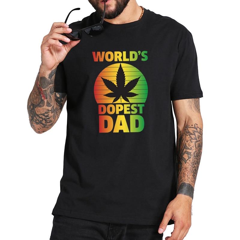 Mundos dopest pai camiseta confortável 100% algodão camisa tamanho da ue de alta qualidade tripulação pescoço manga curta camisetas