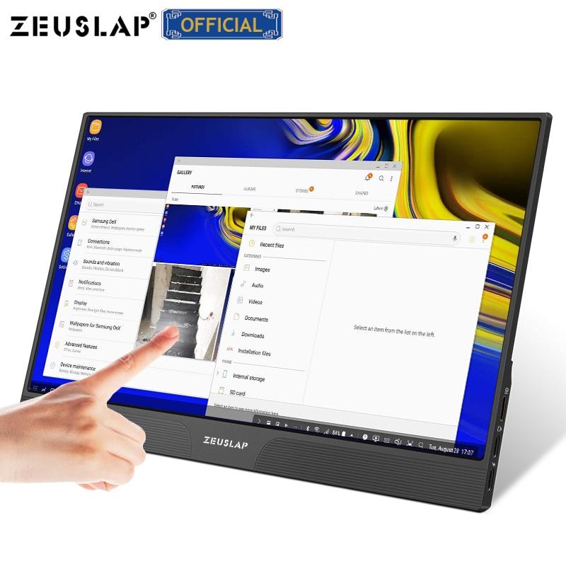 شاشة محمولة بشاشة 15.6 بوصة تعمل باللمس مزودة بمنفذ usb من النوع c ومتوافق مع HDMI- مع شاشة الكمبيوتر التي تعمل باللمس لمفتاح ps4 وهاتف محمول xbox one