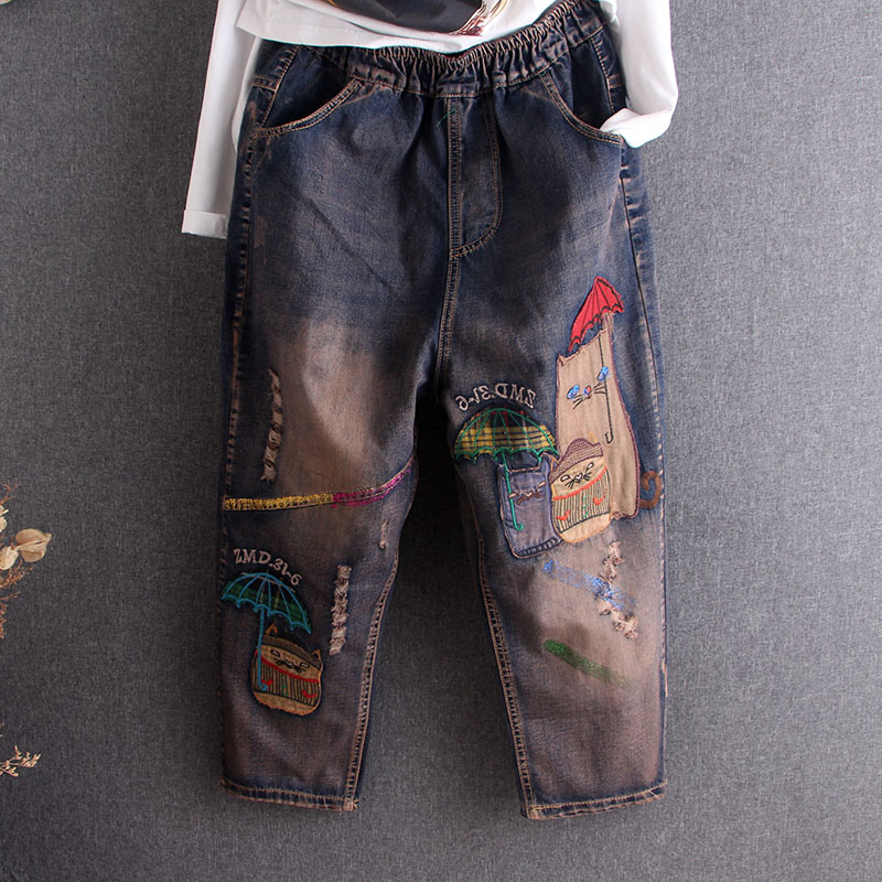 ¡Novedad de 2020! pantalones bombachos de algodón rasgados con bordado de dibujos animados para mujer, pantalones de cintura elástica holgados informales para mujer