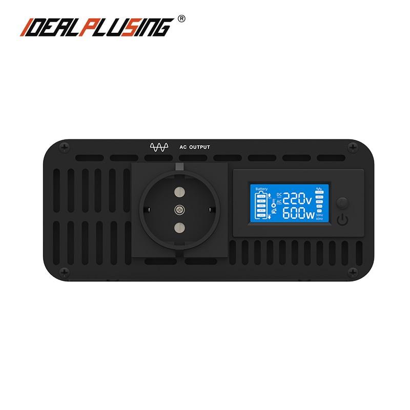 شاشة عرض LCD 12 فولت/24 فولت/48 فولت/60 فولت/72VDC إلى 120VAC 220VAC 600 واط محول موجة جيبية نقية