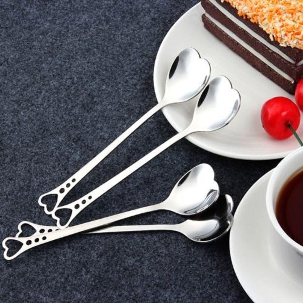 1Pc Stainless Steel Heart Shape Coffee Dessert Spoon Teaspoon Household Spoons Kitchen Gadgets Utensils Tools