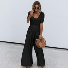 Women Jumpsuit Casual Short Sleeve O Neck Summer Slim Long Playsuit Overalls Ladies Black Cotton Wide Leg Jumpsuit Loose Rompers