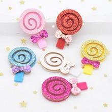 Patchs décoratifs faits à la main L18 12 pièces en tissu à paillettes rembourré 30*45mm, avec Applique sucette, couvre-chef, Clips pour cheveux de fille, nœud cerceau, bricolage pièces