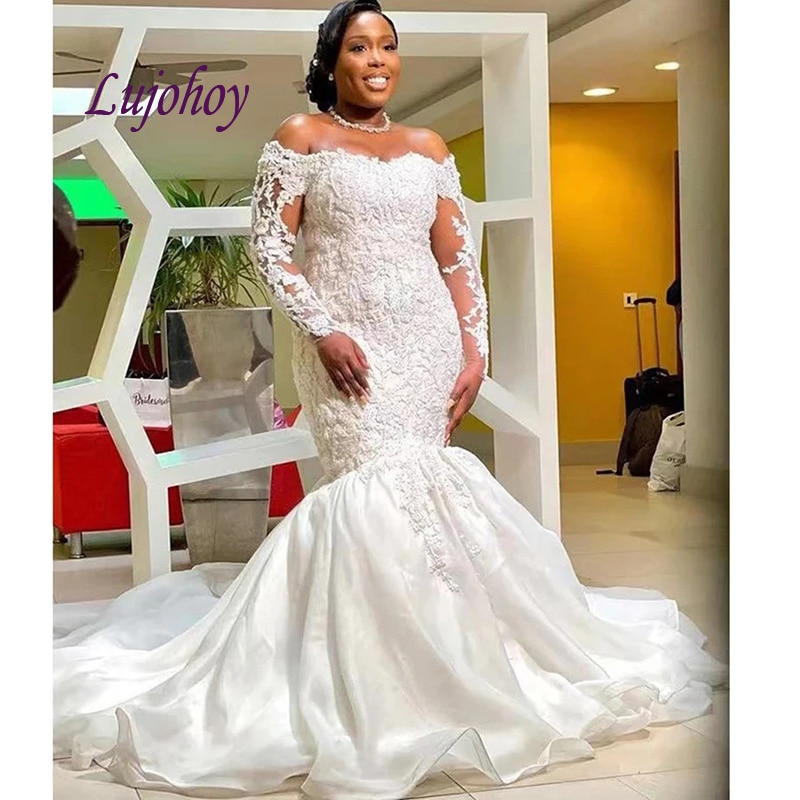 Sexy Long Sleeve Lace Wedding Dresses Mermaid Plus Size Sexy White Ivory African Off Shoulder Women Girl Bridal Bride Gown