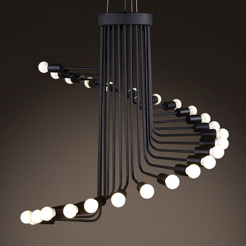 Nordic retro industrial ferro forjado lustre arte moderna escadas forma espiral pingente lâmpadas para cafe bar restaurante sala de estar
