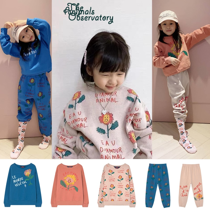 Autumn and winter Plush Children's Clothing Set Kids Pant Cotton Printed Sunflower Sweater Kid Baby Boy Girl Clothes Outfit