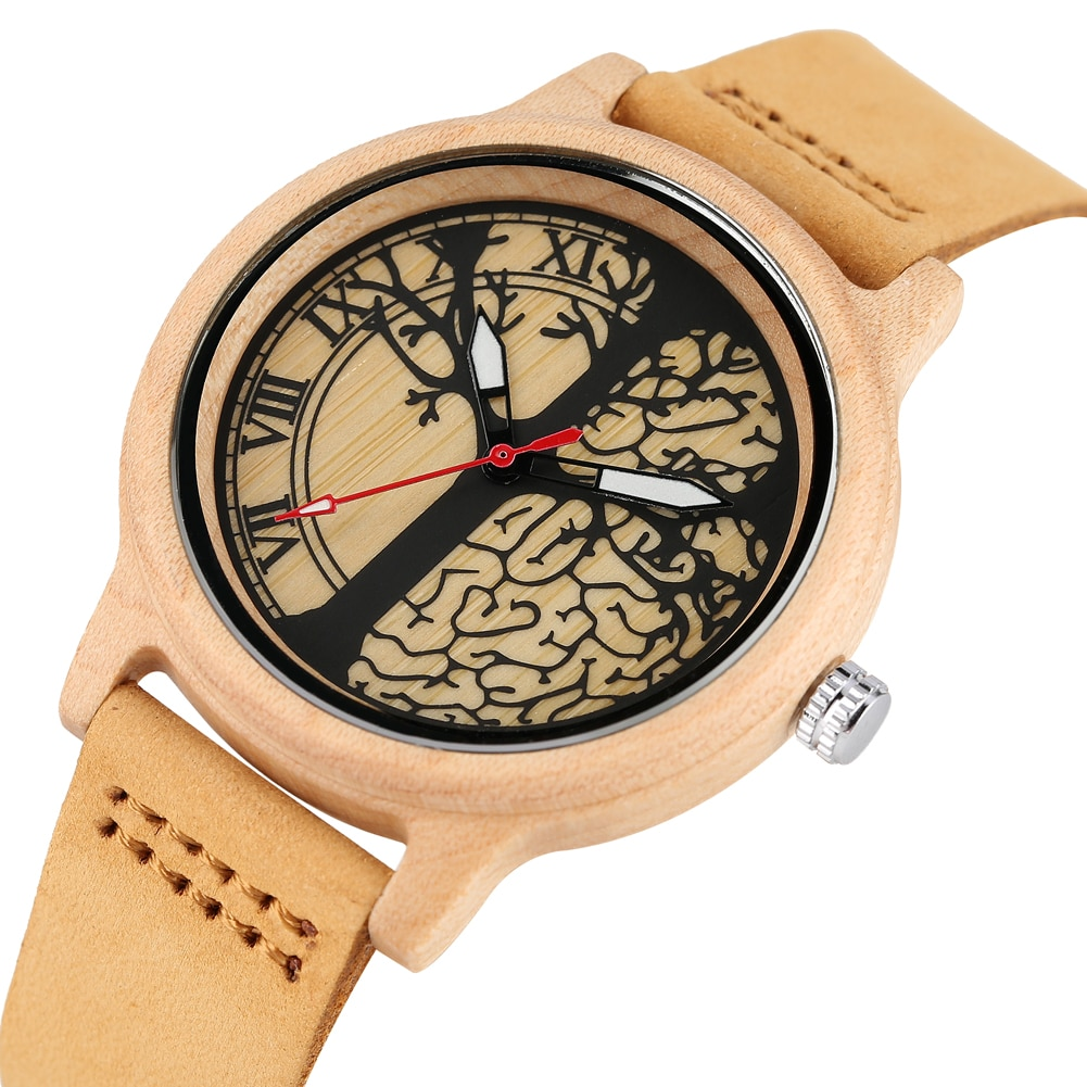 Creative Life Tree Imitation Wood Watch Women Quartz Natural Wooden Watches Soft Leather Band Wristwatch Ladies Girls Gift Clock enlarge