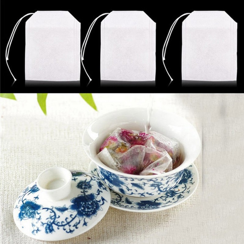 Кухонные принадлежности 100 одноразовых чайных пакетиков, фильтров для заварки чая, фильтров для чая, шелковые пакетики для фильтров из нетк...