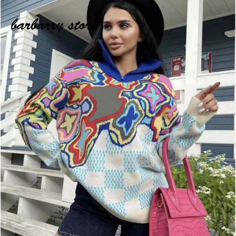 2021 luxury brand color blocking letter printing fashion women's top versatile half zipper high neck long sleeve knitted sweater