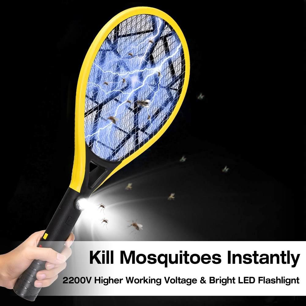 Matamoscas eléctrico, matamosquitos, raqueta de insectos, malla de 3 capas, recargable, de mano, Anti exterminador de insectos, matamoscas con luz de Flash