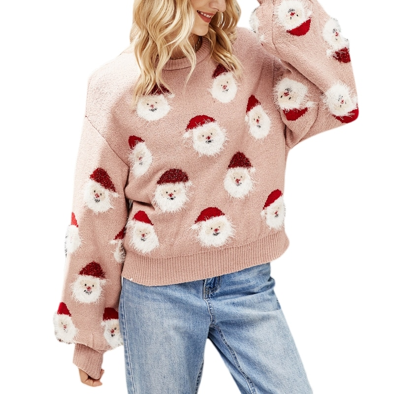Women Long Sleeve O-Neck Knit Sweater Cartoon Christmas Santa Claus Jumper Top