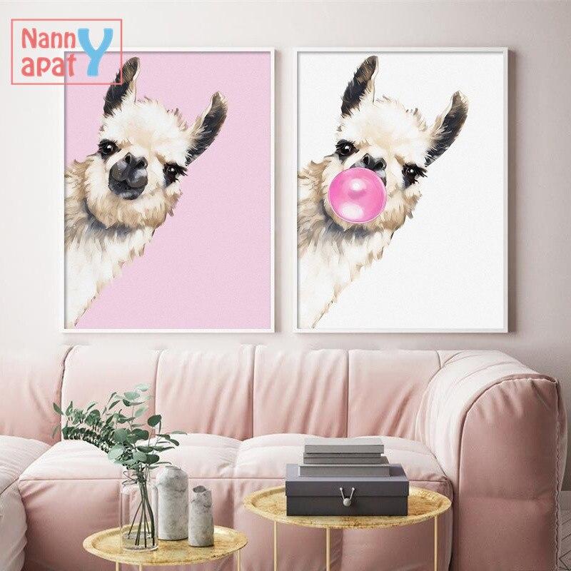 Lustige Lama Blase Wand Kunst Leinwand Malerei Nordic Poster Und Drucke Tiere Wand Bilder Für Wohnzimmer Baby Zimmer Dekoration