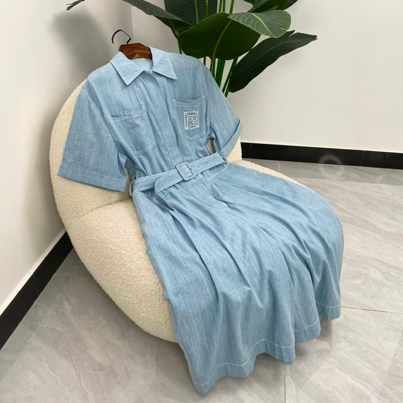 Autumn Women Fashion Letter Embroidery Sky Blue Half Sleeves Cotton Denim Jumpsuit With Sashes High Quality enlarge