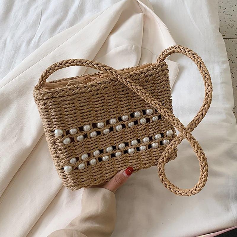 High Quality Beach Straw Crossbody Bags for Women 2021 New Handmade Woven Vacation Handbag Ladies Shoulder Bag Sac A Main