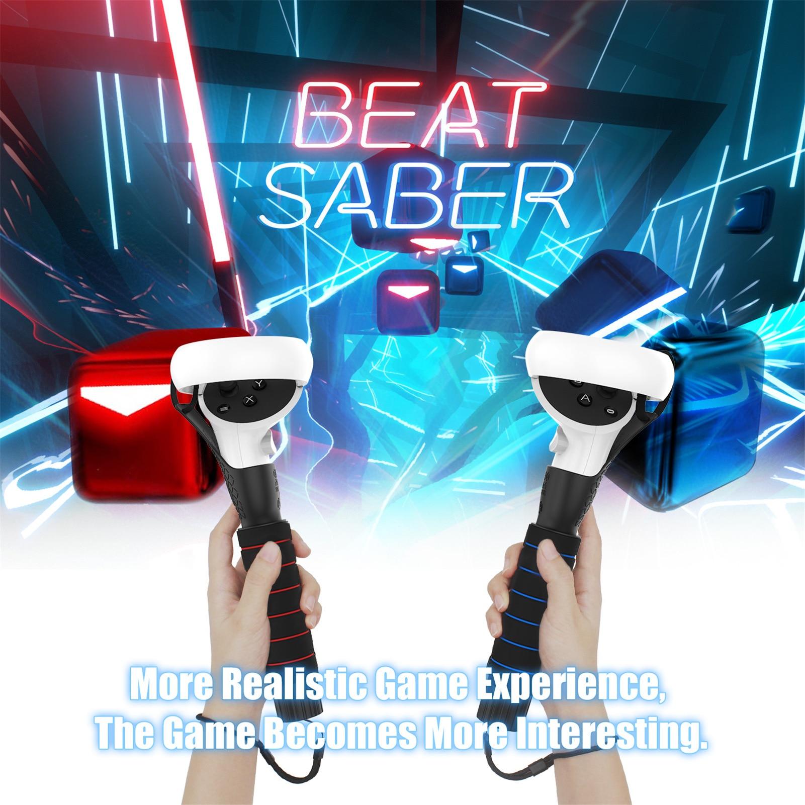 مقبض طويل مقبض مزدوج للتمديدات من أجل كوة كويست 1 ، كوة كويست 2 VR أو المتصدع S وحدات تحكم لعب فاز ألعاب صابر
