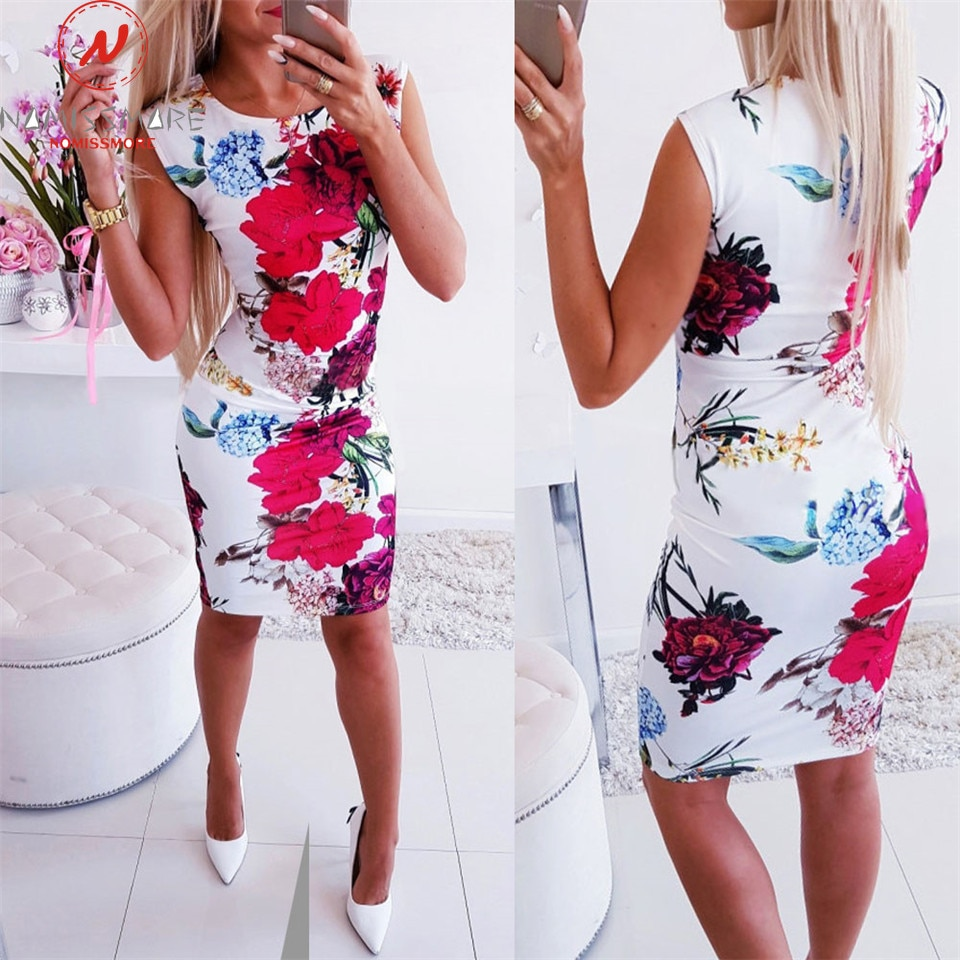 Moda mujer vestido Bodycon para Streetwear diseño de retales sin mangas cuello redondo flor estampado verano Slim Hips Mini vestido