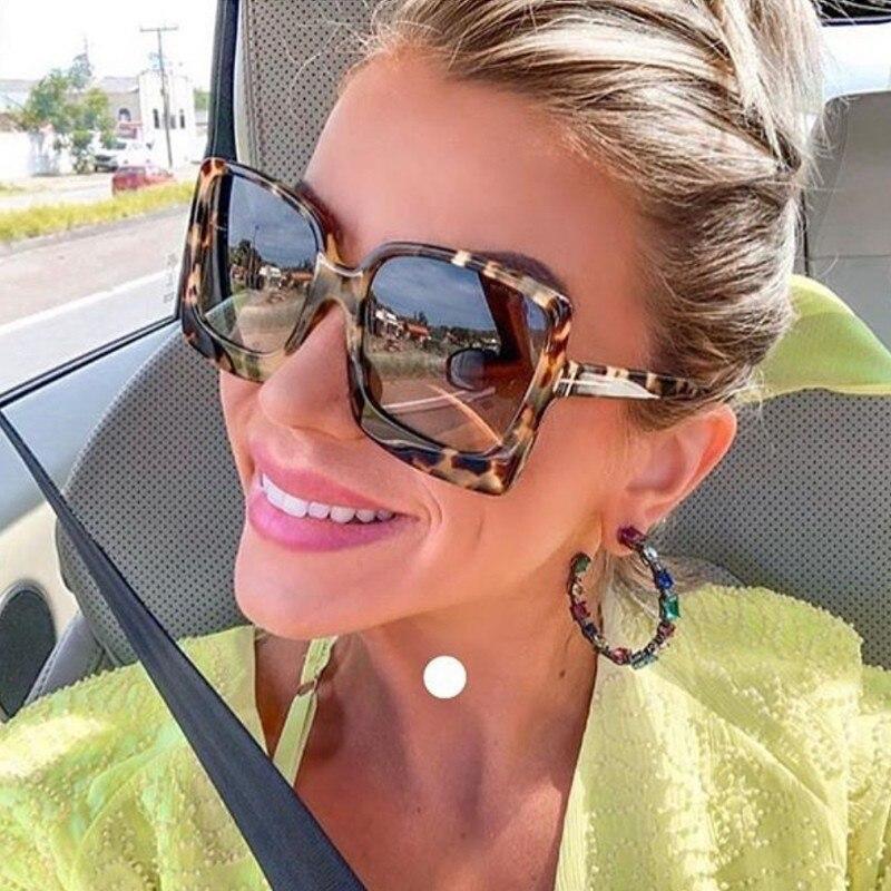 Fashion Oversized Women Sunglasses Brand Designer Plastic Female Big Frame Gradient Sun Glasses UV40