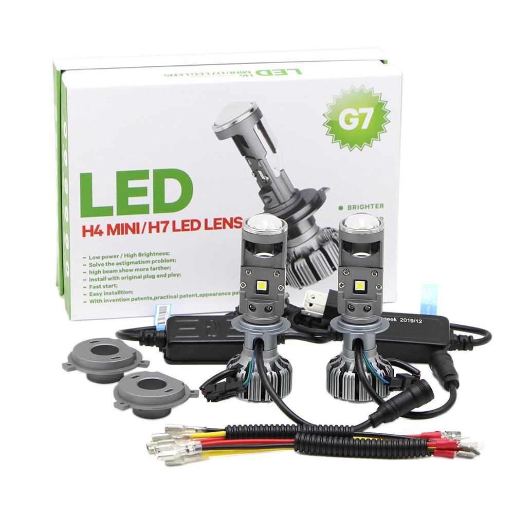Par h4 h7 bi-led mini lente do projetor 90 w 20000lm lâmpadas g7 farol conversa kit alto baixo feixe branco 5500 k farol (lhd)