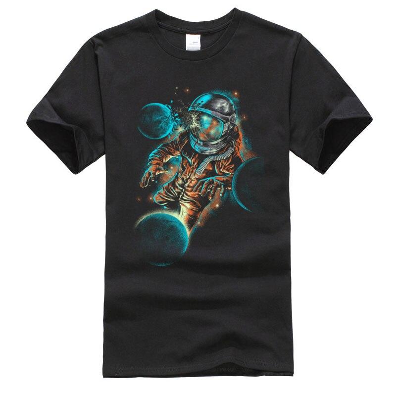 Camisetas divertidas para hombre, camisetas con diseño de impacto espacial, camisetas de otoño, Camiseta 100% de algodón de manga corta, divertida camiseta cuello redondo, envío gratis