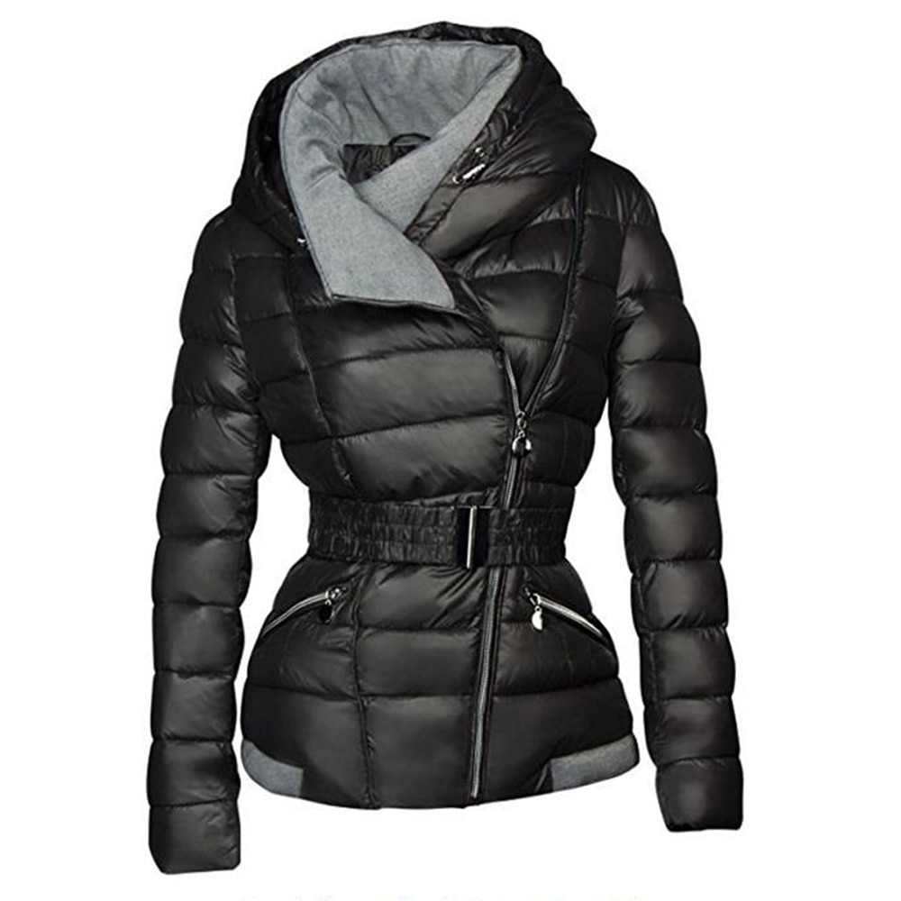Women Jackets Casual Winter Warm Gothic Black Office Lady Slim Hooded Zipper Solid High Street Female Fashion Plus Size Coats
