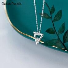 925 Silver Triangle Necklace Silver Jewelry Pendants Minimalism Chocker Boho Kolye Vintage Boho Bijoux Femme Collier Necklace