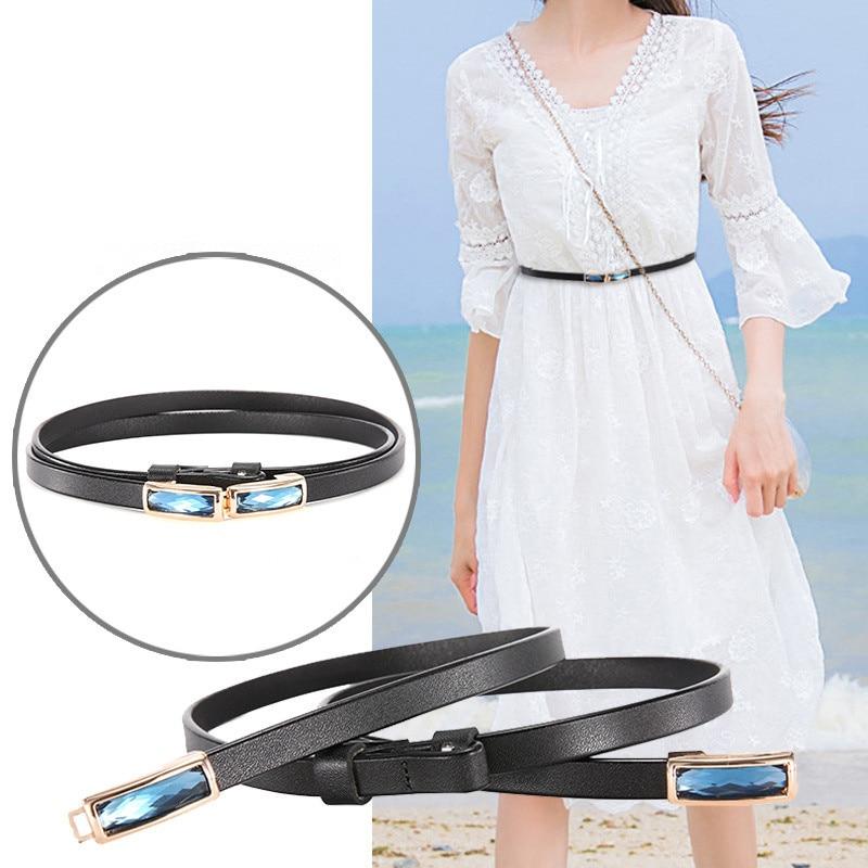 Trendy Skinny Belt for Women Dress Blouse Cowhide Strap 2019 New Adjustable Genuine Leather Designer Female Belts