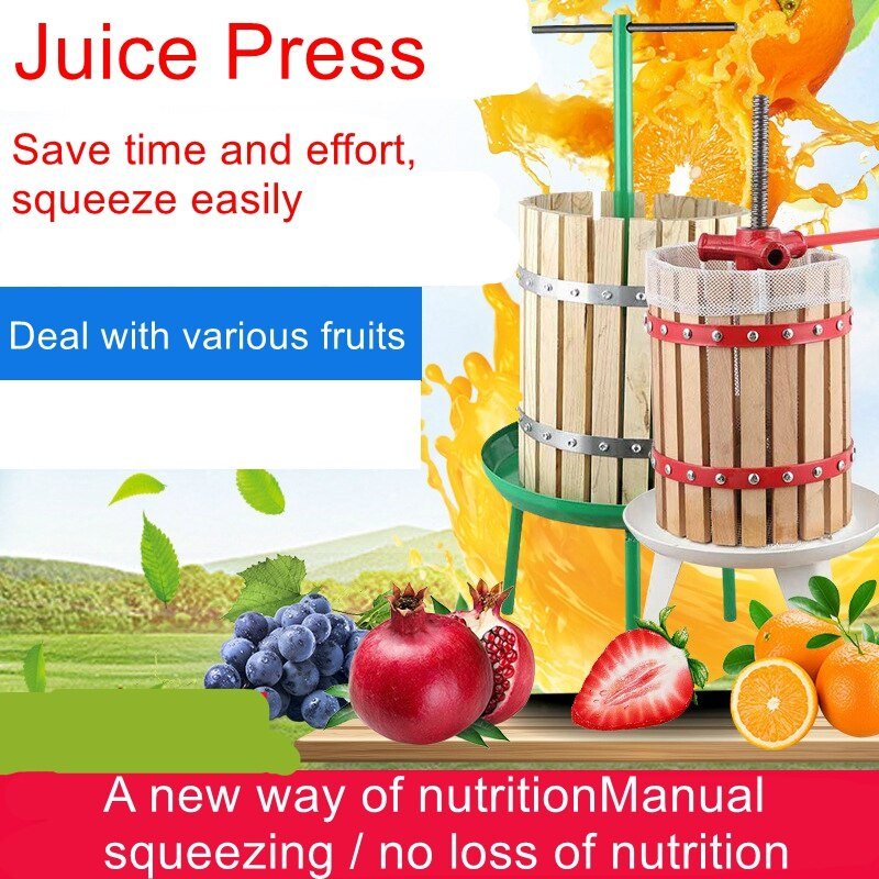 6L barrel grape press fruit and vegetable press household and commercial agricultural manual juicer wood press