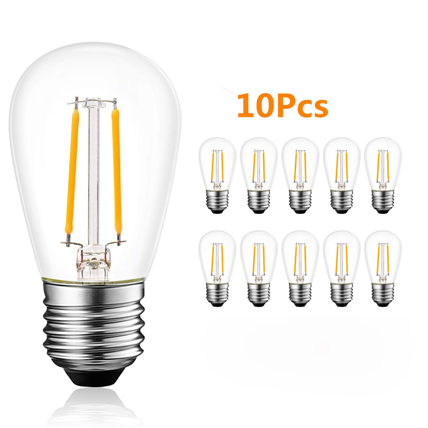 10 Uds S14 E27 2W 4W bombillas LED de luz de Edison blanco cálido 2700K bombilla LED impermeable grandes luces de cuerda de grado comercial al aire libre