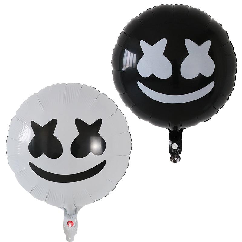 50 Uds. Blanco negro productor electrónico DJ máscara decoración de festival de música globos de papel de aluminio malvavisco balloon de sílaba electrónica