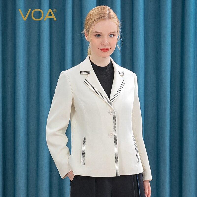 VOA 60 متر/شهر الحرير متجمد مكتب سيدة معطف أبيض WE25 دعوى طوق قوس أسود غرزة الحرفية طويلة الأكمام بسيطة دعوى امرأة سترة