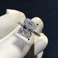 Luxus Radiant Cut cut 4ct Simulierte Diamant cz ring 925 Sterling silber, Verlobung, Hochzeit Band Ringe für frauen Partei Schmuck