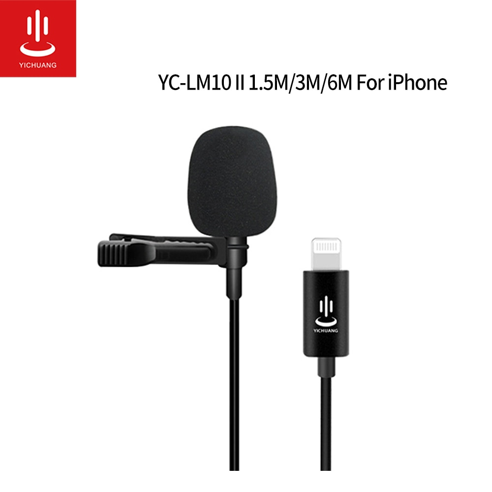 Microphone Professional Lavalier lapel Lightning Microphone YC-LM10 II For iPhone XS XR X/11/8/8 Plus/6/7 Plus iPad microfone