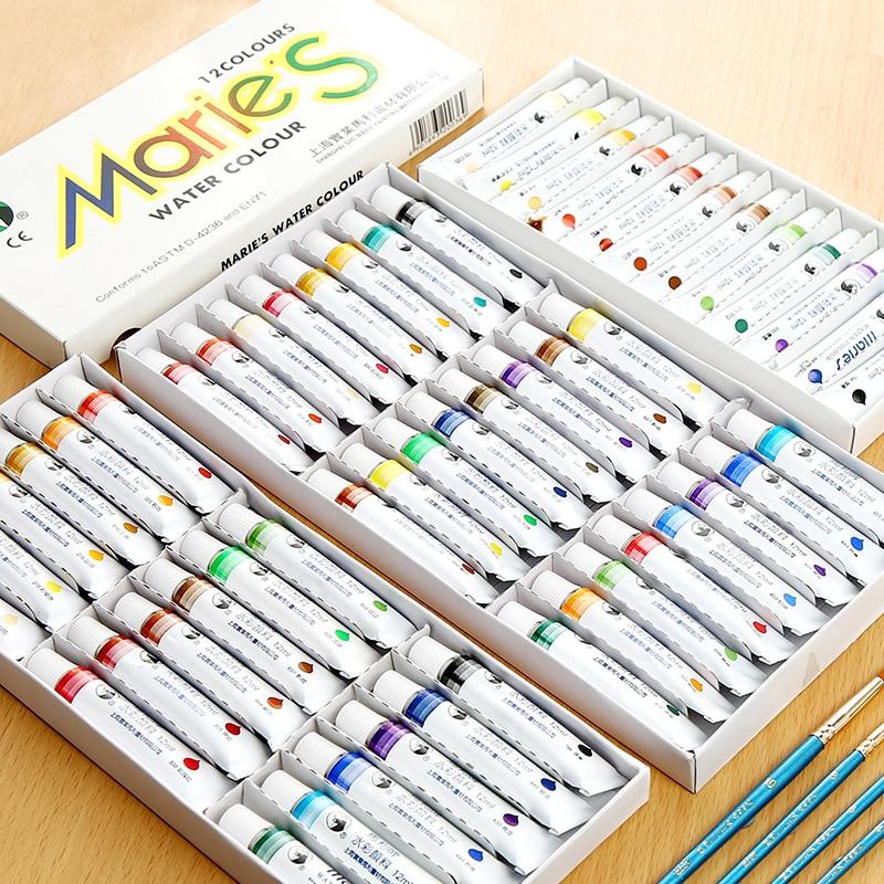 12 ML Water Color Paint Set Paste Professional Watercolor Paints Tube Set for Paintbrush School Art Supplies