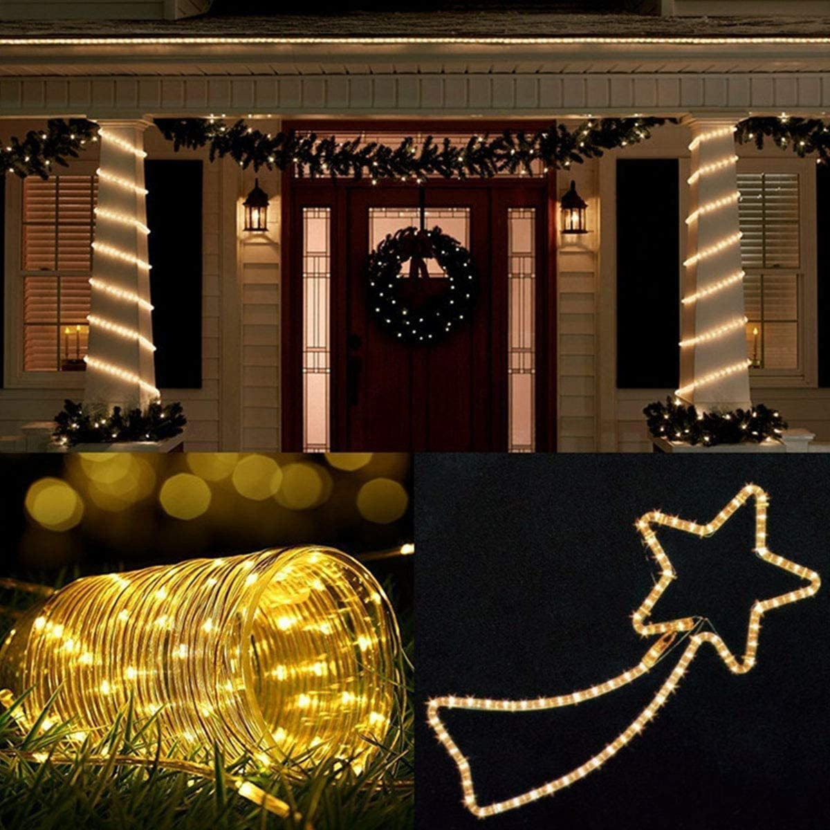 U'King-أنبوب قوس قزح led ، 12 مترًا ، 100 مصباح ، شريط إضاءة زخرفي ، مقاوم للماء ، للإجازات ، رأس السنة ، يوم الكريسماس