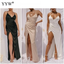 Spaghetti Straps High Side Slit Evening Dress Long 2022 Robe De Soiree Sexy Deep V Dresses Woman Par