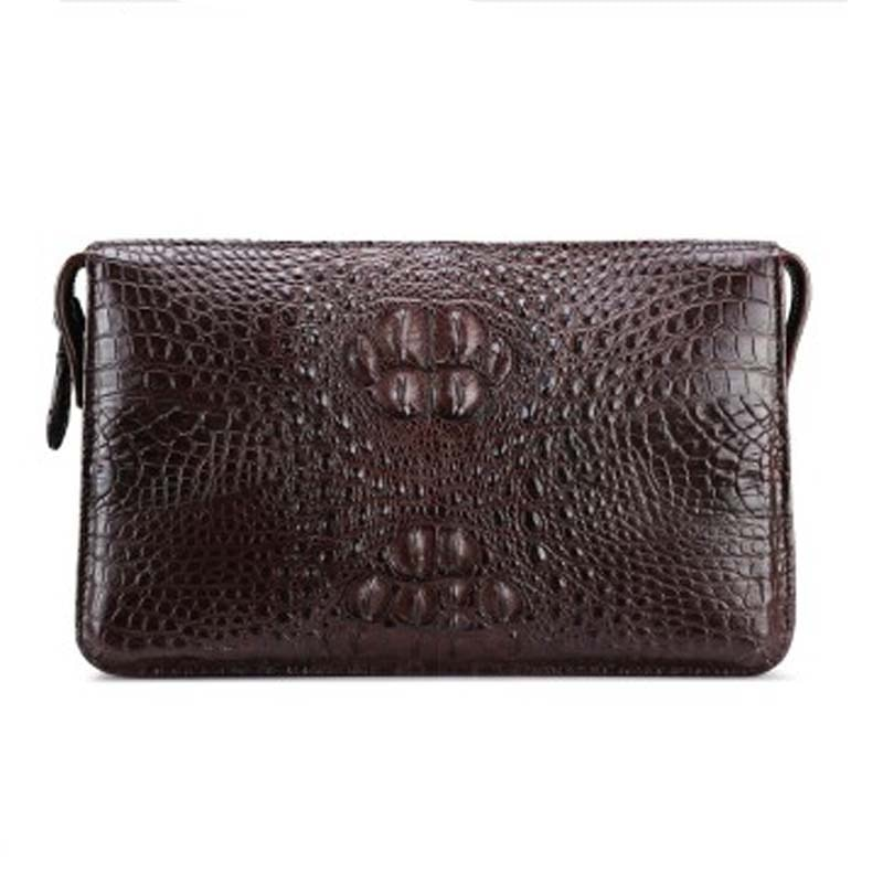 fasiqi new  crocodile leather men clutch bag business man bag long hand bag black crocodile leather male handbag