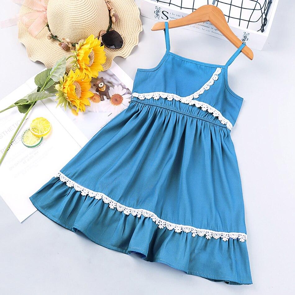 VOGUEON 2021 New Children's Clothing Fashion Girls Dress Summer Korean Style Adjustable Strap Lace Princess Dresses Kids Vestido