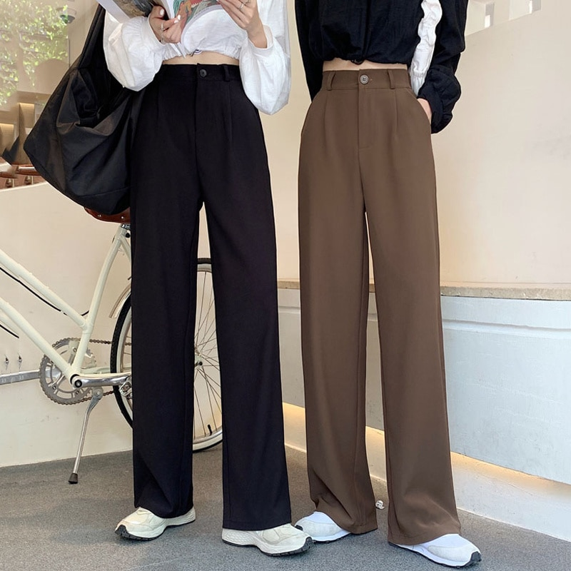 Causal Pants Women Autumn Korean 2021 High Waist Slim Fashion Age Reduction Versatile Wide Leg Pants