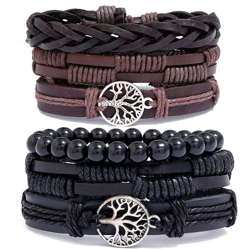 Hand-woven retro cowhide bracelet diy combination three-piece men's jewelry