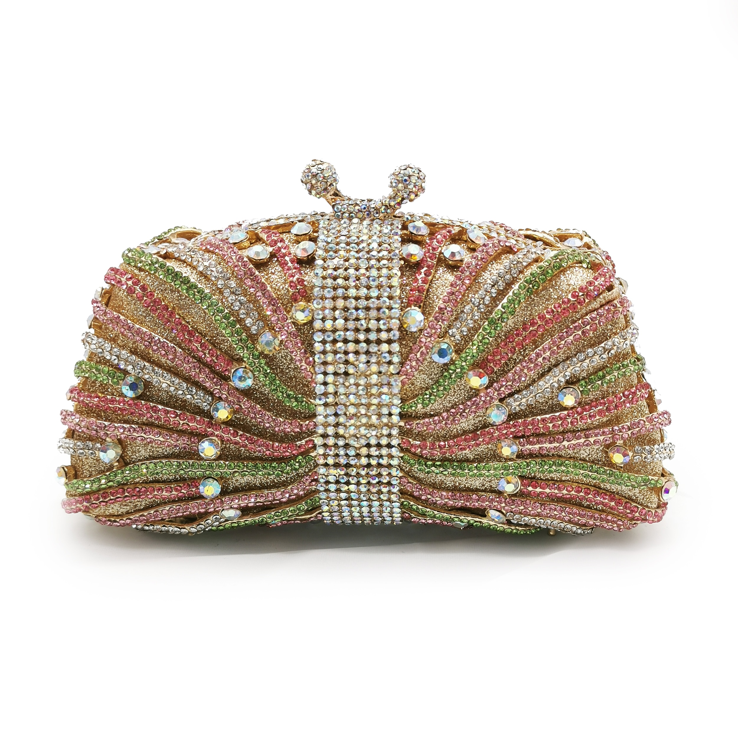 حقيبة يد فاخرة بأحجار الراين ، حمراء ، زرقاء ، خضراء ، متعددة الألوان ، 7 ألوان ، حقيبة حمل للحفلات الراقصة