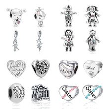 2020 new 4pcs/lot wholesale mix girl boy best mom dad family sister tree sweet home diy bead fit Pandora charms bracelet X050