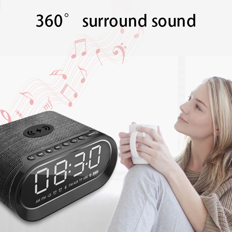 YABA Wireless Charging Portable Wireless Bluetooth-compatible Speaker Alarm Clock Subwoofer with Wireless Charging FM Radio enlarge