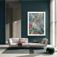 Toile de peinture florale et doiseau de Style chinois  tableau dart de mode  affiche de decoration pour la maison  peinture murale et imprimes sans cadre