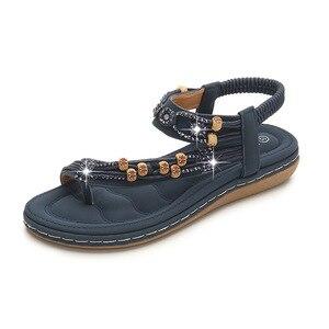 Women Shoes Bohemian Sandals Retro Rhinestones Beaded Sandals Round Head Flat Sandals Tendon Soft Bottom Shoes Women Sandals