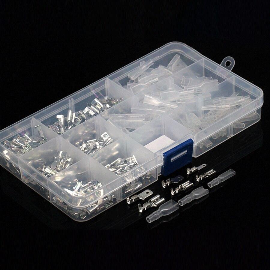 270 piezas de latón 6,3mm 4,8mm 2,8mm conectores de Cable de pala hembra terminales macho pala de empalme rápido con funda