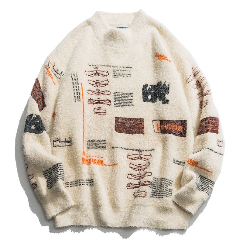 Nini Beibei brand graffiti knit pullover sweater street style hip-hop casual long-sleeved high-neck sweater men's jacket warm