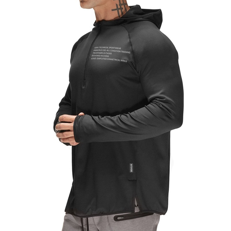ECTIC Autumn Running Jackets Hoodies Sport Shirt Men Breathable Fitness Gym Sports Clothing Sport Top Men's Sportswear 2019