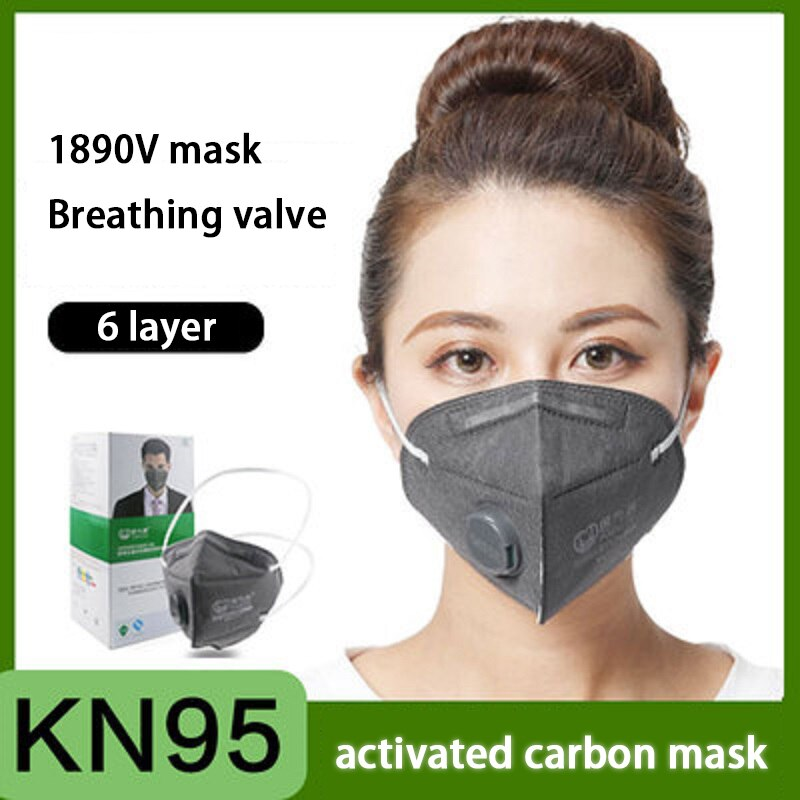 new n95 dust mask activated carbon double breathing valve protective masks dust mask masks second hand smoke 30-120Pcs KN95 Face Mask Activated Carbon Breathing Value Dust-Proof Anti-PM2.5 Protective Respirator Non-Reusable Dust Masks