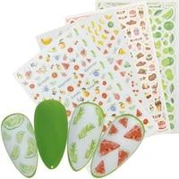 1 sheet 3d adhesive nail slider sticker fruit cake lollipop ice cream design decals manicure nail art decoration tattoos